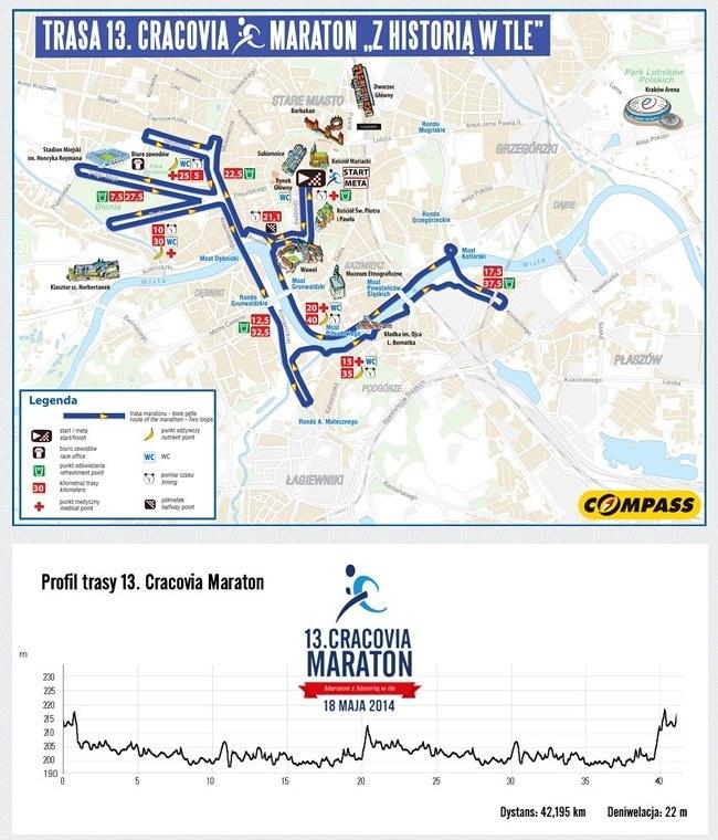 Trasa i profil 13. Cracovia Maratonu. /INTERIA.PL