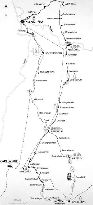 Trasa jaką pokonała Bertha Benz i jej dwóch synów w  1888 roku. /