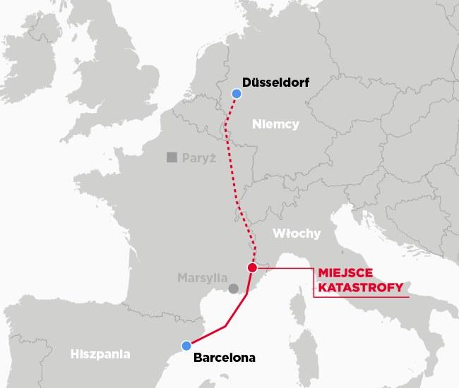 Trasa lotu airbusa i miejsce katastrofy /INTERIA.PL