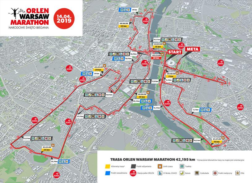 Trasa ORLEN Warsaw Marathonu /INTERIA.PL