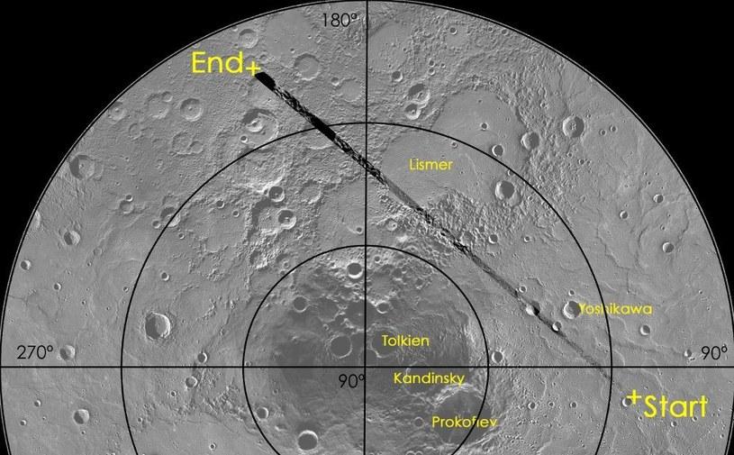 Trasa przelotu z 8 czerwca sondy MESSENGER nad Merkurym. /NASA