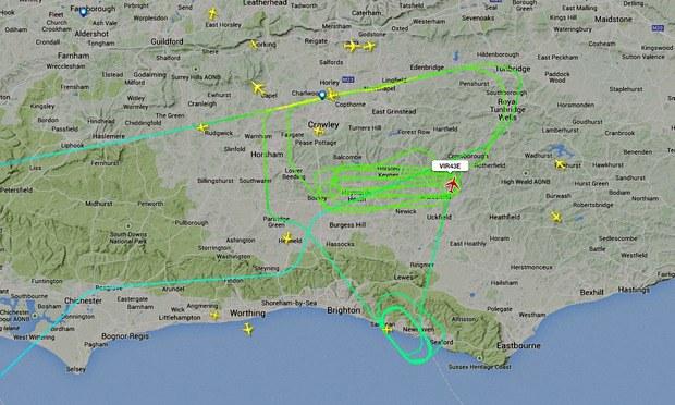 Trasa samolotu zaznaczona na zielono, fot. flightradar /