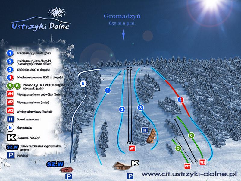 Trasy narciarskie w Ustrzykach Dolnych, stacja Gromadzyń /