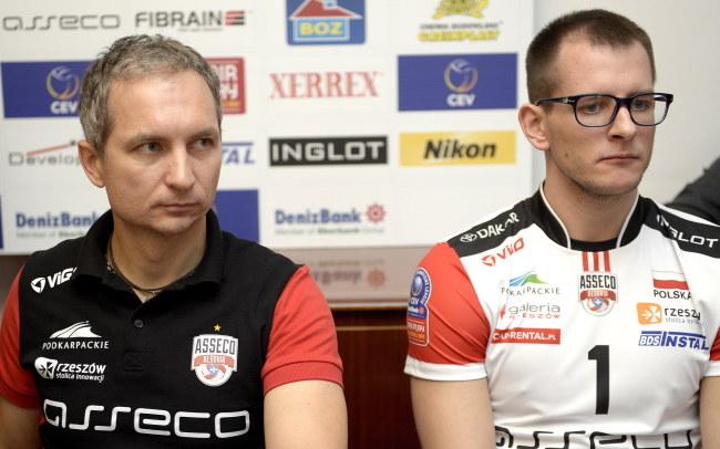 Trener Asseco Resovii Andrzej Kowal i siatkarz Bartosz Kurek /Darek Delmanowicz /PAP