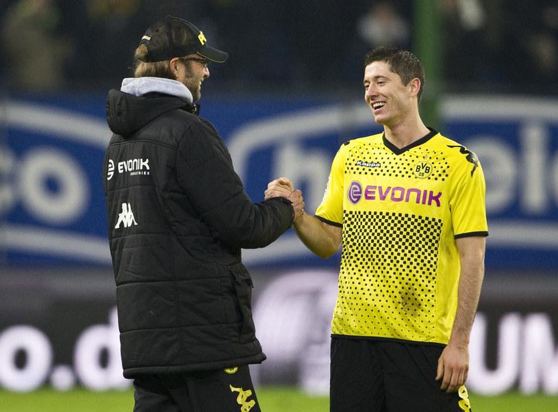 Trener Borussii Dortmund Juergen Klopp i Robert Lewandowski /AFP