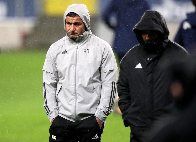 Trener drużyny Karabach Agdam Gurban Gurbanow (z lewej) / Leszek Szymański    /PAP