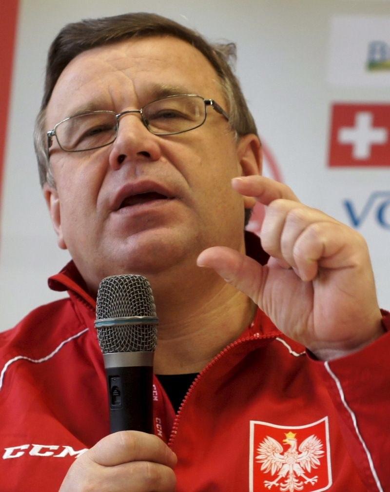 Trener hokejowej reprezentacji Polski Igor Zacharkin /Andrzej Grygiel /PAP