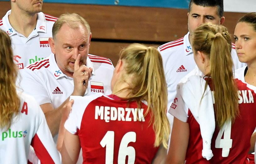 Trener Jacek Nawrocki podczas meczu z Białorusią / Piotr Polak    /PAP