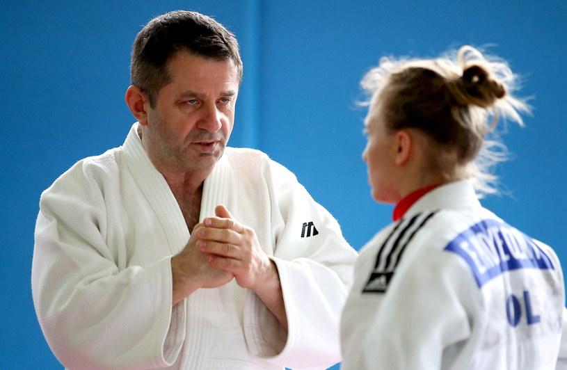 Trener kadry Jarosław Wołowicz i Ewa Konieczny /Grzegorz Momot /PAP