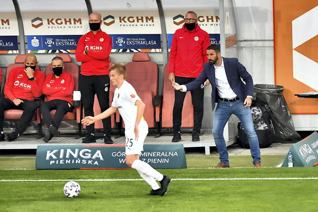 Trener KGHM Zagłębie Lubin Martin Sevela podczas meczu piłkarskiej Ekstraklasy z Koroną Kielce / Maciej Kulczyński    /PAP