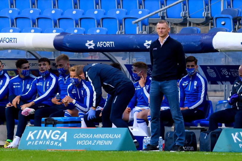 Trener Lecha Dariusz Żuraw podczas meczu z Legią /Jakub Kaczmarczyk /PAP