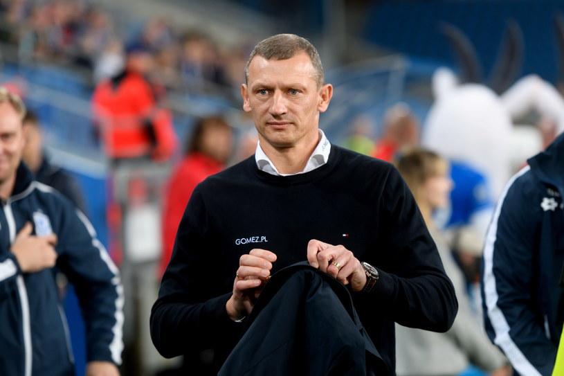 Trener Lecha Dariusz Żuraw podczas meczu z Zagłębiem Lubin. /Jakub Kaczmarczyk /PAP