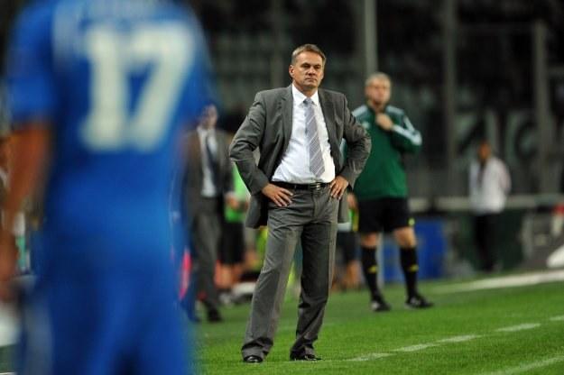 Trener Lecha Jacek Zieliński podczas meczu z Juventusem. /AFP