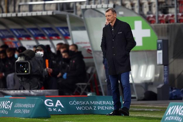 Trener Lecha Poznań Dariusz Żuraw podczas meczu 23. kolejki piłkarskiej Ekstraklasy z Cracovią 3 kwietnia /Łukasz Gągulski /PAP