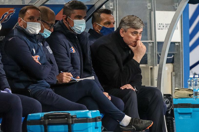 Trener Maciej Skorża w trakcie meczu Lech Poznań - Stal Mielec /Pawel Jaskolka / PressFocus / NEWSPIX.PL /Newspix