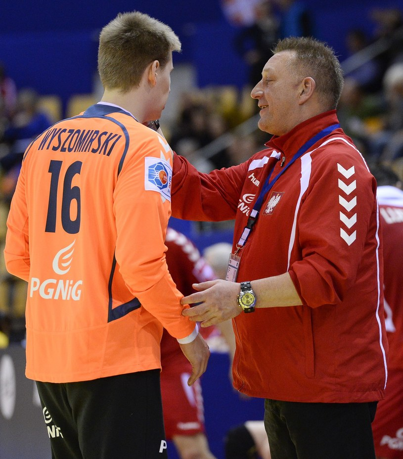 Trener Michael Biegler i Piotr Wyszomirski /AFP