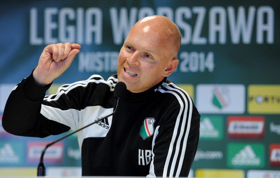 Trener piłkarzy Legii Warszawa Henning Berg /Bartłomiej Zborowski /PAP