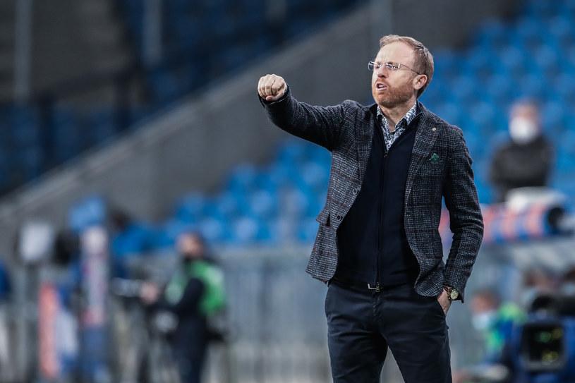 Trener Piotr Stokowiec podczas meczu Lech Poznań - Lechia Gdańsk /JAKUB PIASECKI / CYFRASPORT / NEWSPIX.PL /Newspix