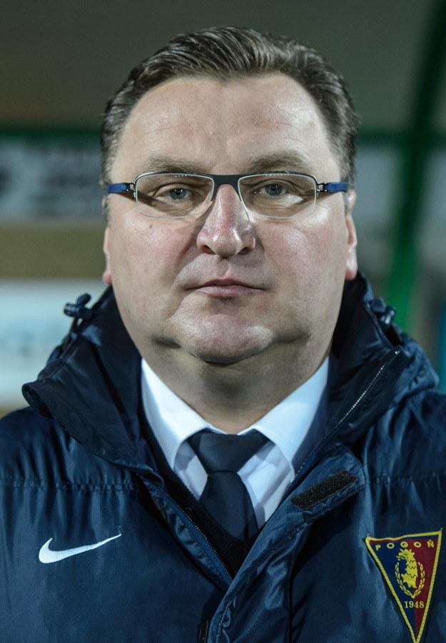 Trener Pogoni Czesław Michniewicz niewątpliwie miał powody do zadowolenia /PAP