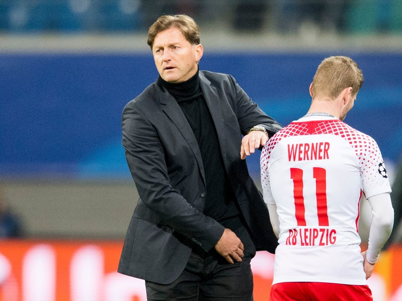 Trener RB Lipsk Ralph Hasenhuettl i Timo Werner /AFP