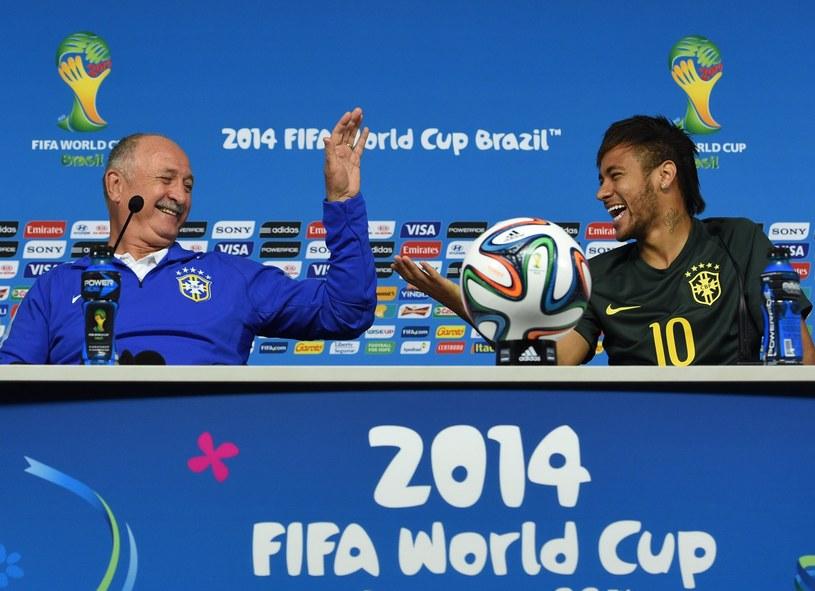 Trener reprezentacji Brazylii Luiz Felipe Scolari i Neymar /AFP