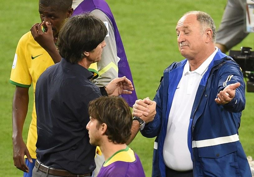 Trener reprezentacji Brazylii Luiz Felipe Scolari (z prawej) i selekcjoner Niemców Joachim Loew /AFP