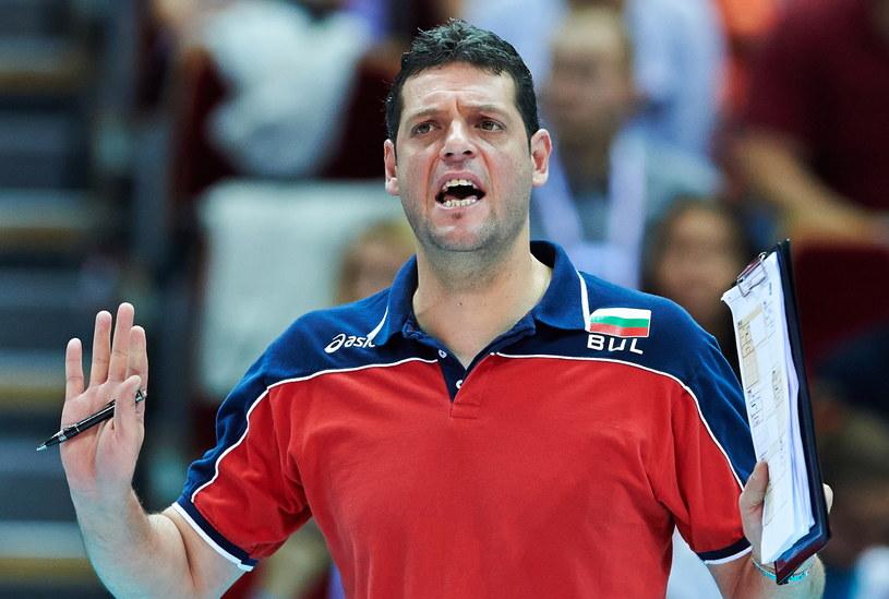 Trener reprezentacji Bułgarii Płamen Konstantinow podczas meczu z Kanadą /Adam Warżawa /PAP
