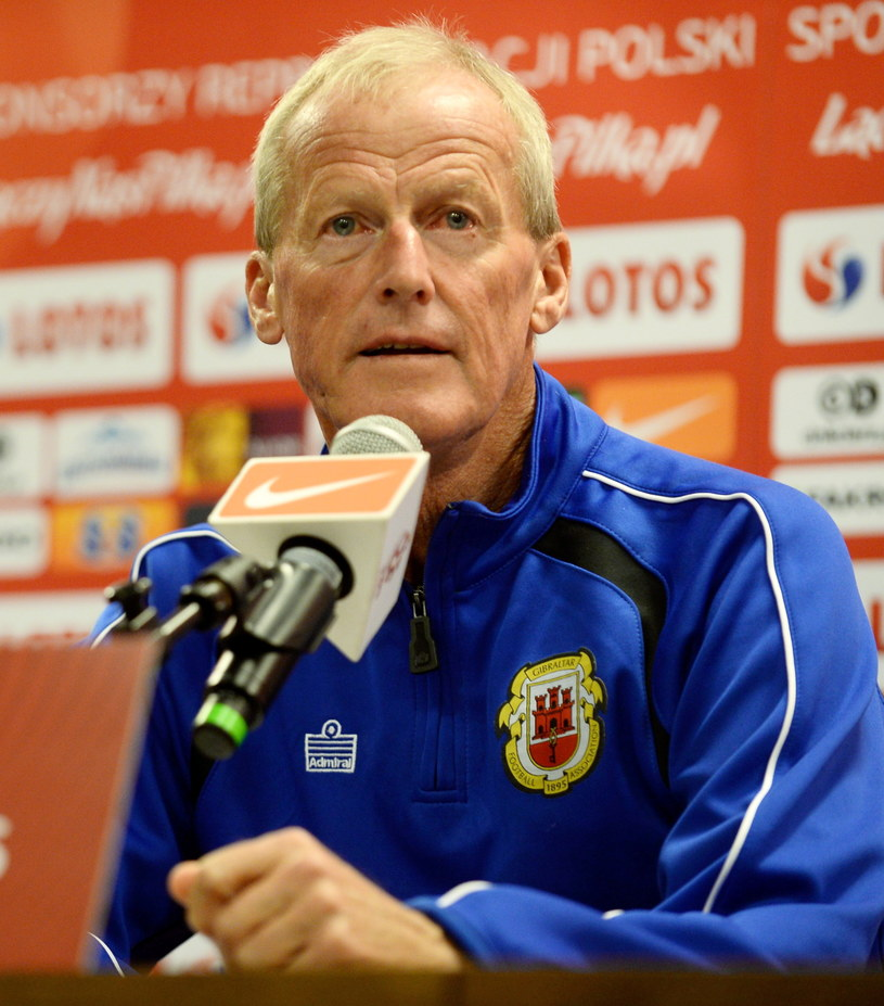 Trener reprezentacji Gibraltaru Jeff Wood /Fot. Bartłomiej Zborowski /PAP