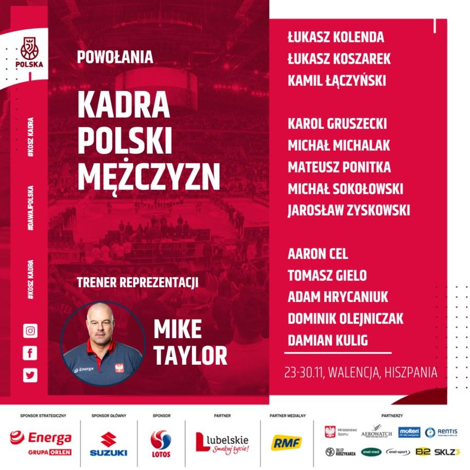 Trener reprezentacji Polski, Mike Taylor, wybrał 13 zawodników, którzy wezmą udział w meczach kwalifikacyjnych do EuroBasketu 2022 z Rumunią i Izraelem /Materiały prasowe
