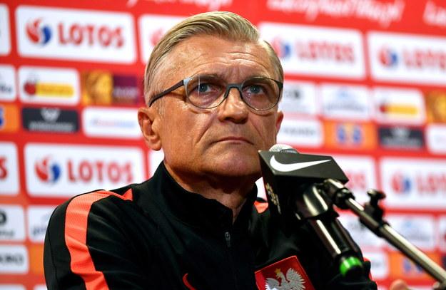 Trener reprezentacji Polski podczas konferencji /PAP/Bartłomiej Zborowski /PAP