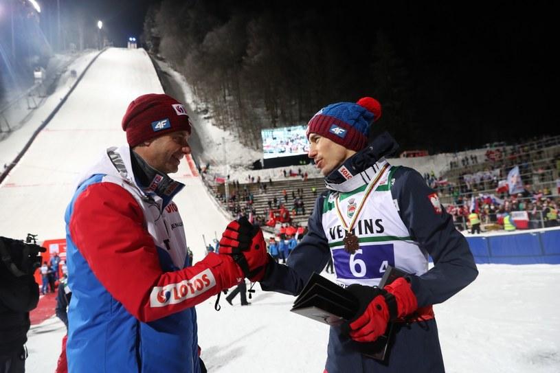 Trener reprezentacji Polski Stefan Horngacher (L) i Kamil Stoch / Grzegorz Momot    /PAP