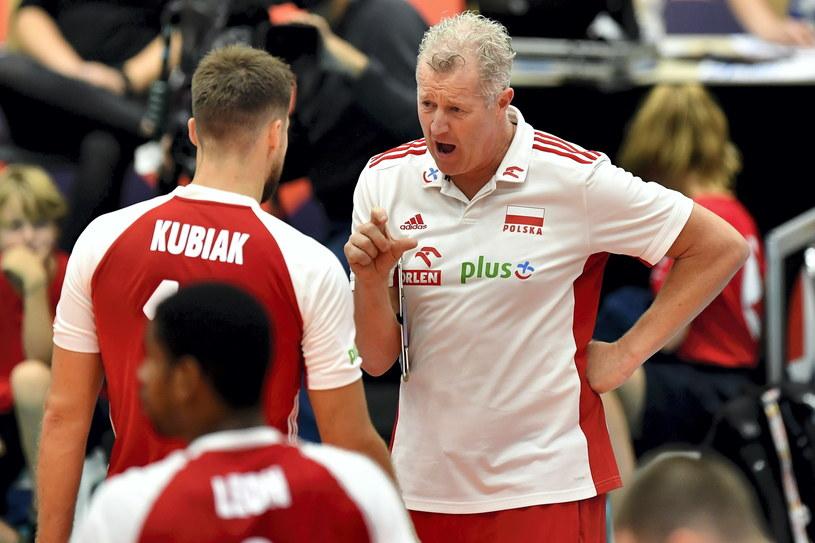 Trener reprezentacji Polski Vital Heynen i kapitan naszej drużyny Michał Kubiak /Maciej Kulczyński /PAP