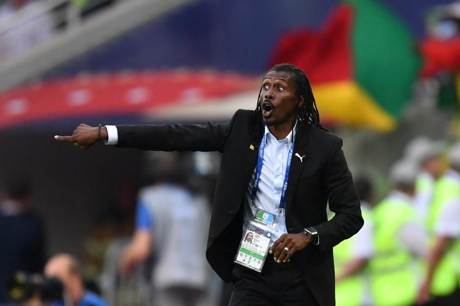 Trener reprezentacji Senegalu Aliou Cisse podczas meczu z Polską /Bartłomiej  Zborowski /PAP