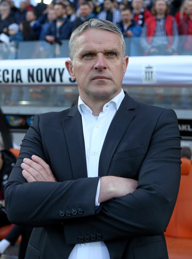 Trener Sandecji Kazimierz Moskal podczas meczu z Wisłą Kraków. /Stanisław Rozpędzik /PAP