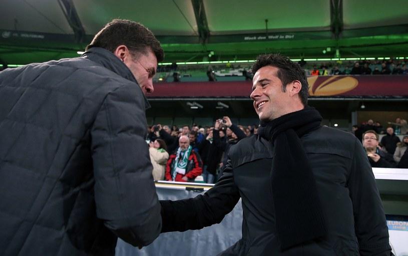 Trener Sportingu Marco Silva (na zdjęciu z prawej) zabiegał o zatrzymanie Matheusa /AFP