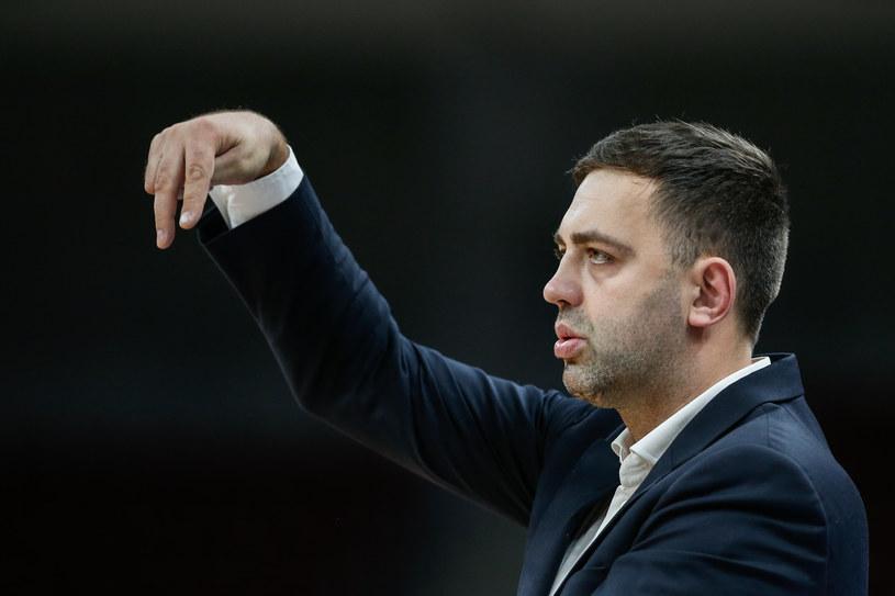 Trener Trefla Sopot, Marcin Stefański podczas meczu z HydroTruckiem Radom /Wojciech Figurski / newspix /Newspix