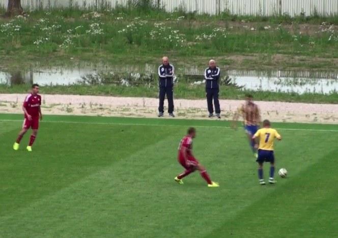 Trenerzy Franz Smuda i Kazimierz Kmiecik oglądali sparing z Dunajską Stredą z drugiej strony boisko, w stosunku do ławki rezerwowych. /INTERIA.PL