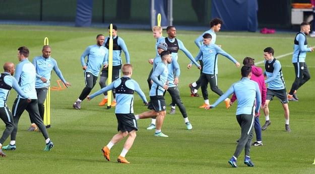 Trening Manchesteru City przed spotkaniem z Liverpoolem /Nigel Roddis /PAP/EPA