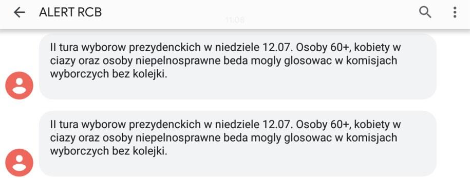 Treść alertu RCB /Zrzut ekranu /