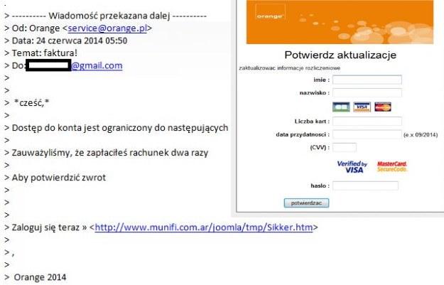 Treść fałszywego e-maila oraz strona, która wyłudza dane (po prawej) /materiały prasowe