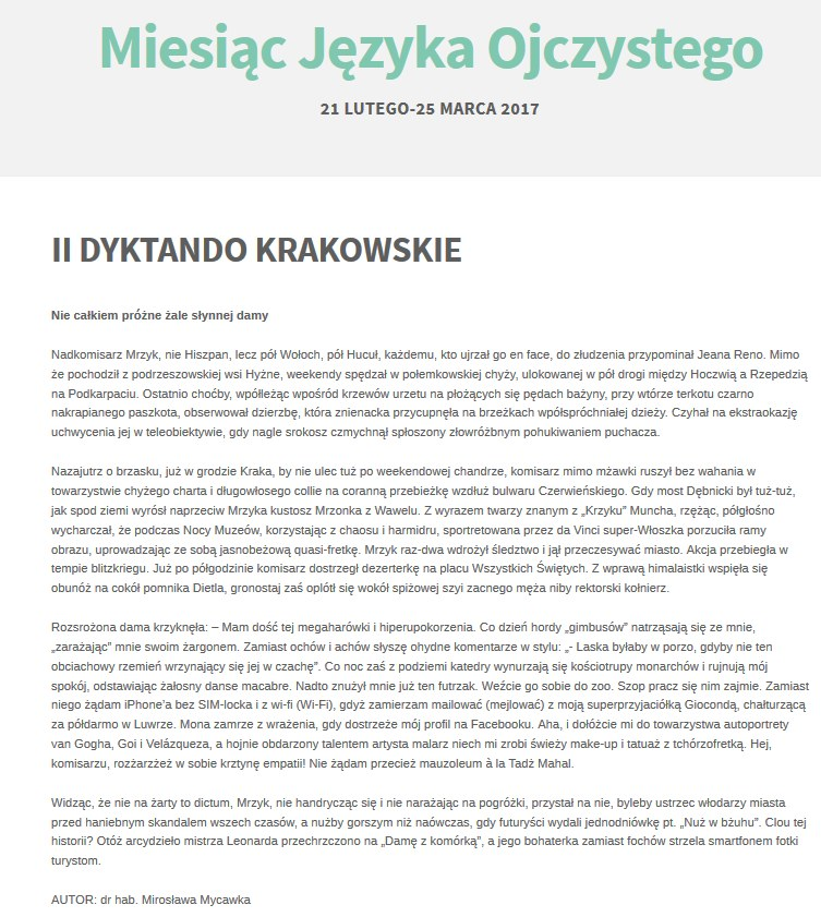 Treść II Dyktanda Krakowskiego /miesiacjezyka.wordpress.com /