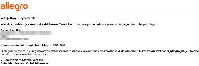 Treść przykładowego maila wysyłanego przez cyberprzestępców /materiały prasowe