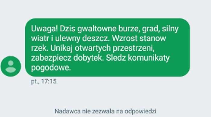 Treść SMS RCB wysyłana w piątek, 10 sierpnia, m.in. w Małopolsce /INTERIA.PL