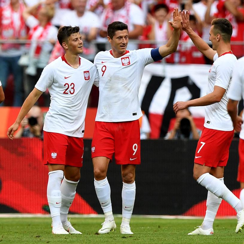 Trio snajperów reprezentacji Polski (od lewej): Dawid Kownacki, Robert Lewandowski, Arkadiusz Milik /JANEK SKARZYNSKI / AFP /AFP