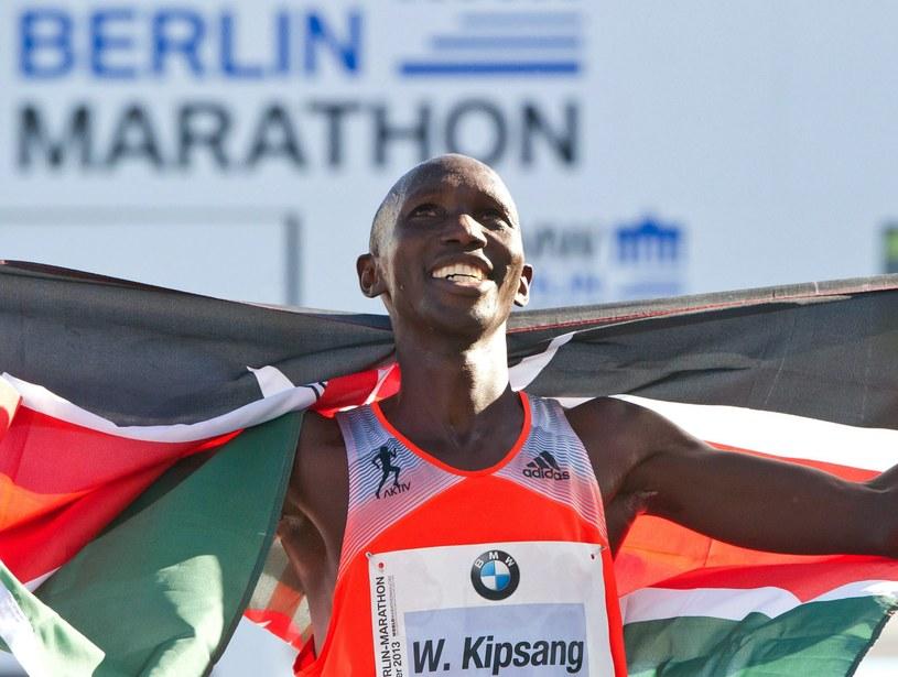 Triumfator 40. Maratonu Berlińskiego Kenijczyk Wilson Kipsang /PAP/EPA