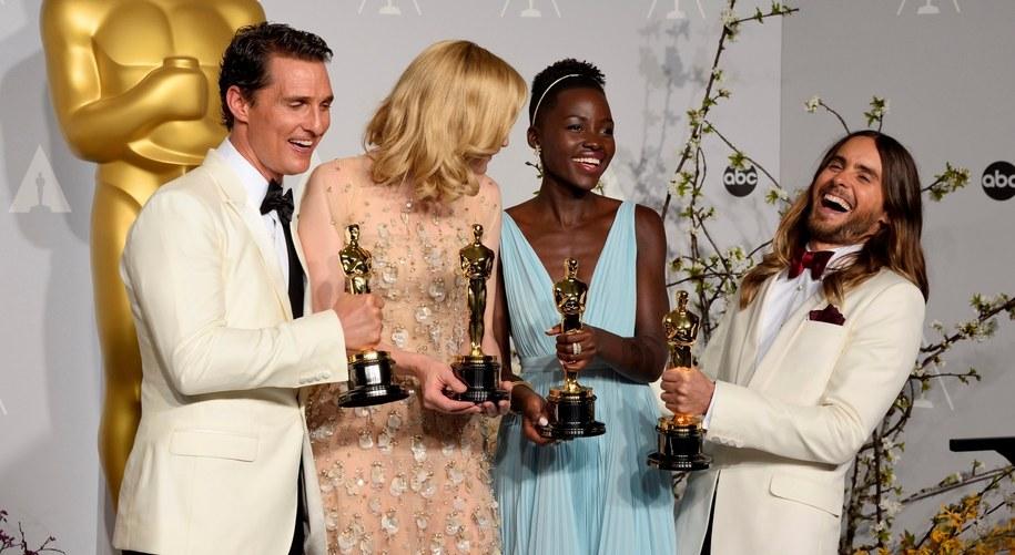 Triumfatorzy Oscarów: Matthew McConaughey, Cate Blanchett, Lupita Nyong'o, Jared Leto /PAUL BUCK  /PAP/EPA