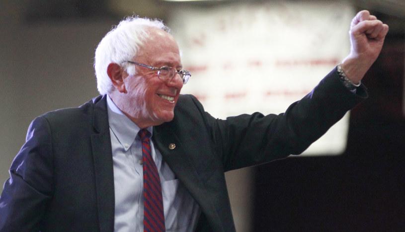 Triumfujący Bernie Sanders /AFP