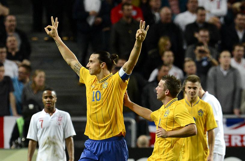 Triumfujący Zlatan Ibrahimovic podczas meczu Szwecja - Anglia /AFP