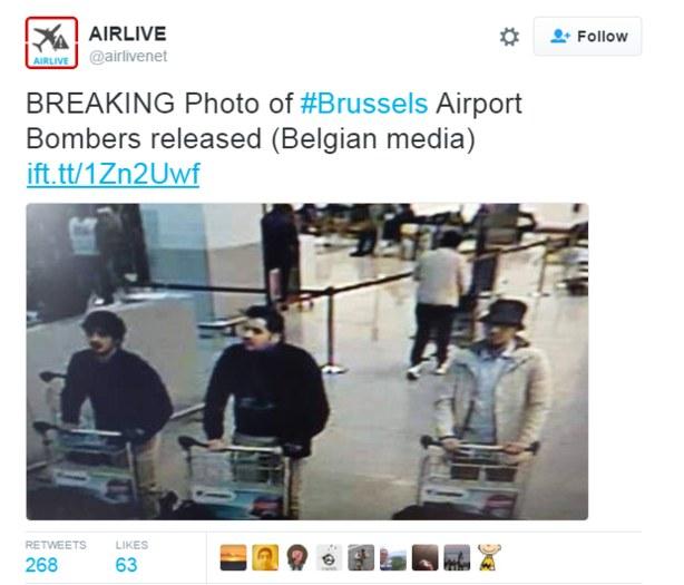 Trójka mężczyzn podejrzanych o zamach na lotnisku Zaventem /Twitter