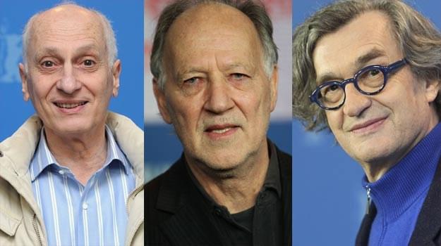 Trójwymiarowa ofensywa: Michel Ocelet, Werner Herzog i Wim Wenders (jako jedyny w okularach) /Getty Images/Flash Press Media